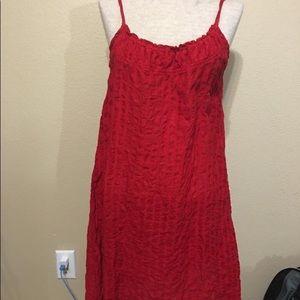 Flax red linen dress